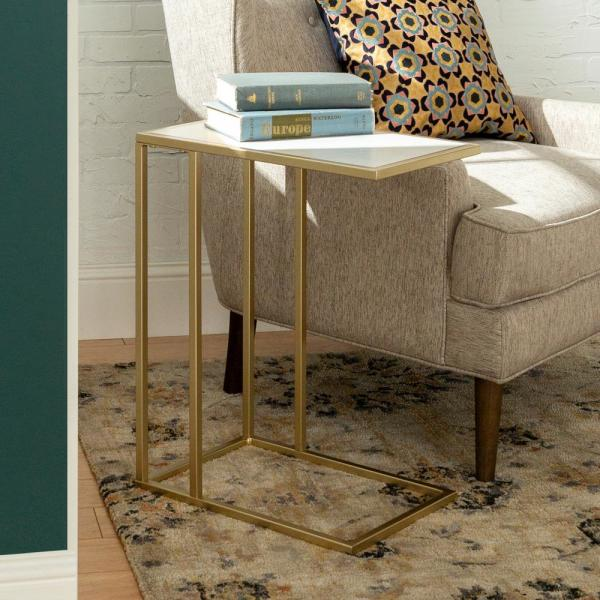 Walker Edison Furniture Company 20 In White Faux Marble Gold Urban