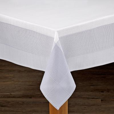 Bohemia 60 in. x 104 in. White/Grey 100% Polyester Tablecloth