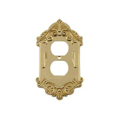 Victorian Switch Plate with Outlet in Unlacquered Brass