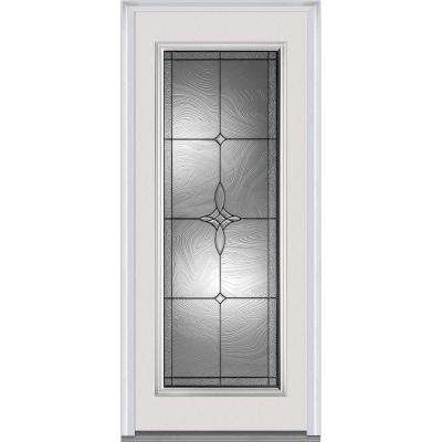 32 in. x 80 in. Lenora Right-Hand Inswing Full Lite Decorative Primed Fiberglass Smooth Prehung Front Door