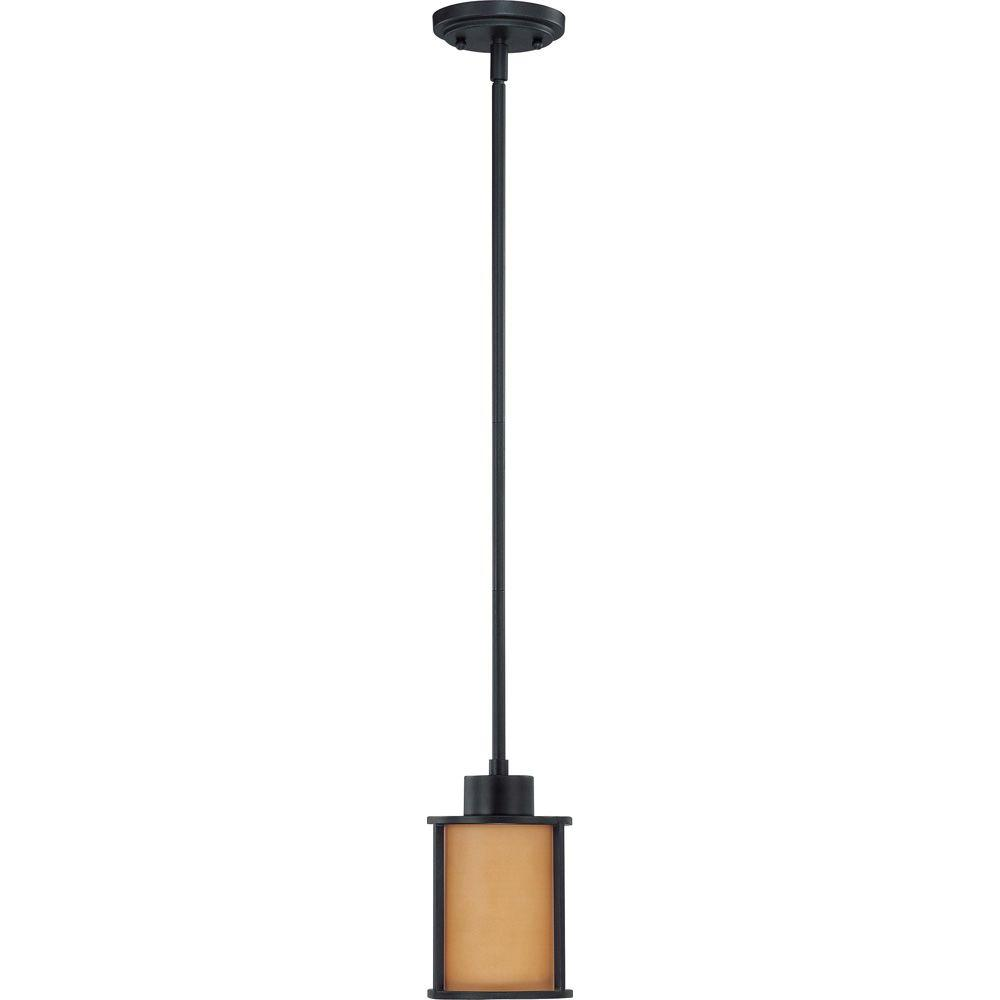 Glomar Odeon 1-Light Aged Bronze Mini Pendant with Parchment Glass