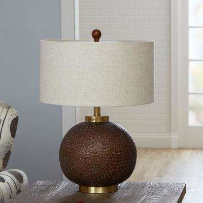 Perry Hammered 25 in. Gold Table Lamp with Shade