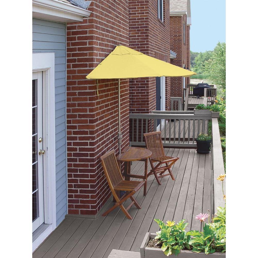Blue Star Group Terrace Mates Bistro Standard 5-Piece Patio Bistro Set with 9 ft. Yellow Olefin Half-Umbrella