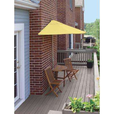 Terrace Mates Caleo Deluxe 5-Piece Patio Bistro Set with 7.5 ft. Yellow Sunbrella Half-Umbrella