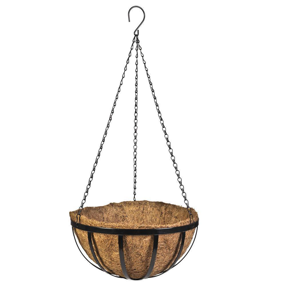 14 in. Black English Flat Wire Metal Hanging Basket