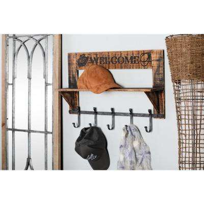 Brown Welcome Wooden Wall Shelf with 5-Iron Hooks