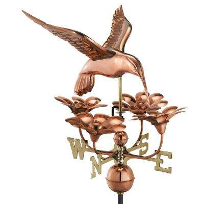 Hummingbird with Flowers Weathervane - Pure Copper