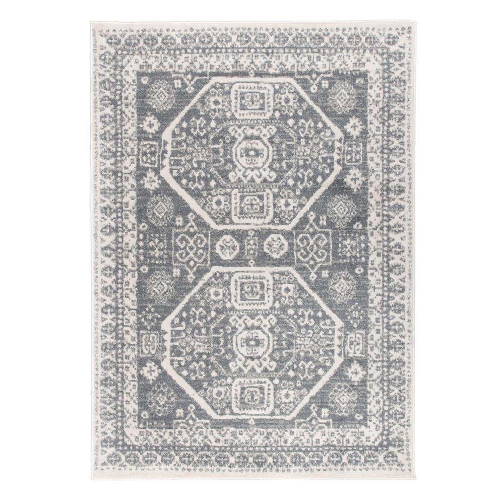 Contemporary Bohemian Design Gray 5'x7' Area Rug