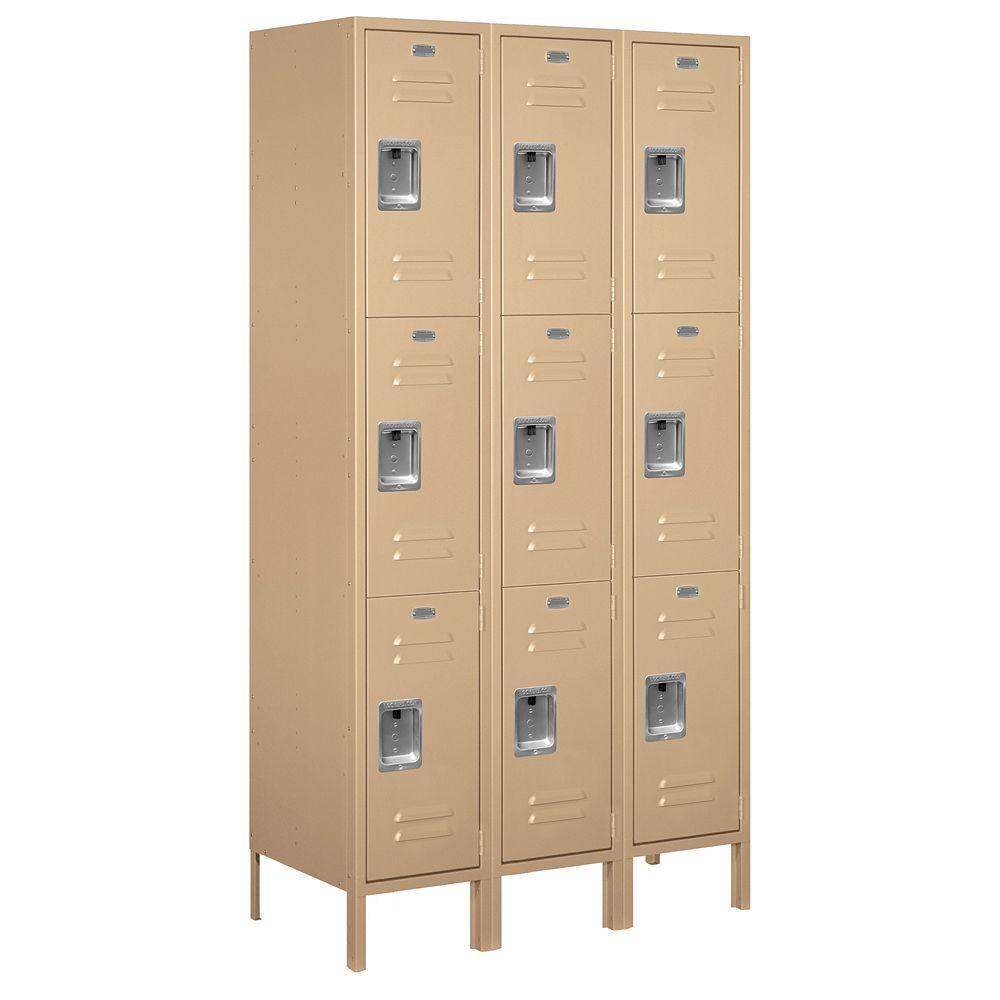 53000 Series 45 in. W x 78 in. H x 18 in. D Triple Tier Extra Wide Metal Locker Assembled in Tan