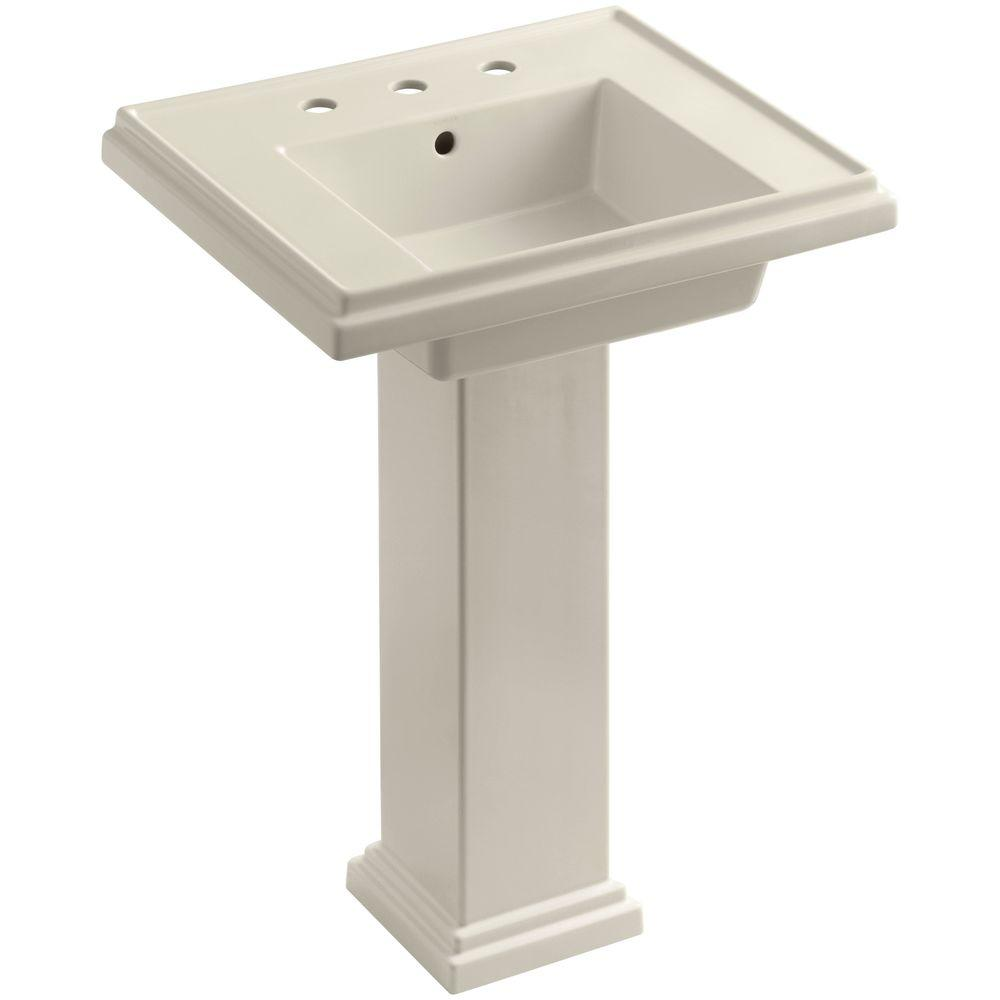 Tresham Ceramic Pedestal Combo Bathroom Sink with 8 in. Centers in