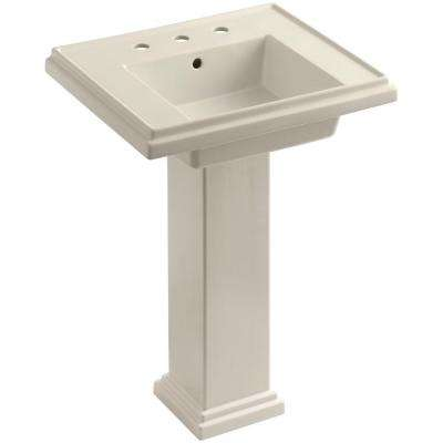 Tresham Ceramic Pedestal Combo Bathroom Sink with 8 in. Centers in Almond with Overflow Drain