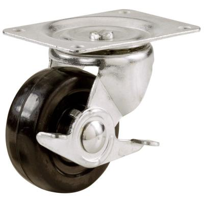 2 in. Soft Rubber Swivel Plate Caster with 90 lb. Load Rating and Side Brake