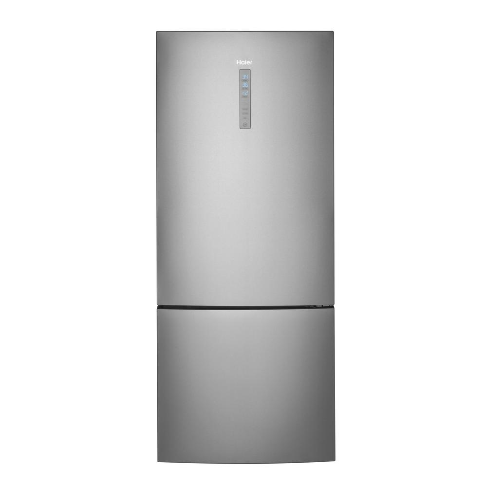 Haier 28 in. W 15.0 cu. ft. Bottom Freezer Refrigerator in Stainless ...