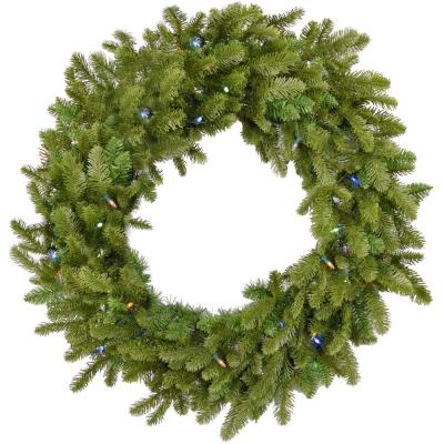48 in. Grandland Artificial Holiday Wreath with Multi-Colored Battery-Operated LED String Lights