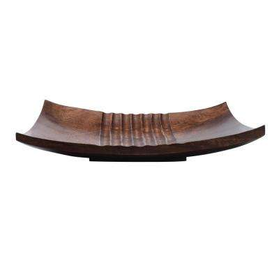 12 in. Brown Handmade Square Decorative Mango Wood Serving Tray
