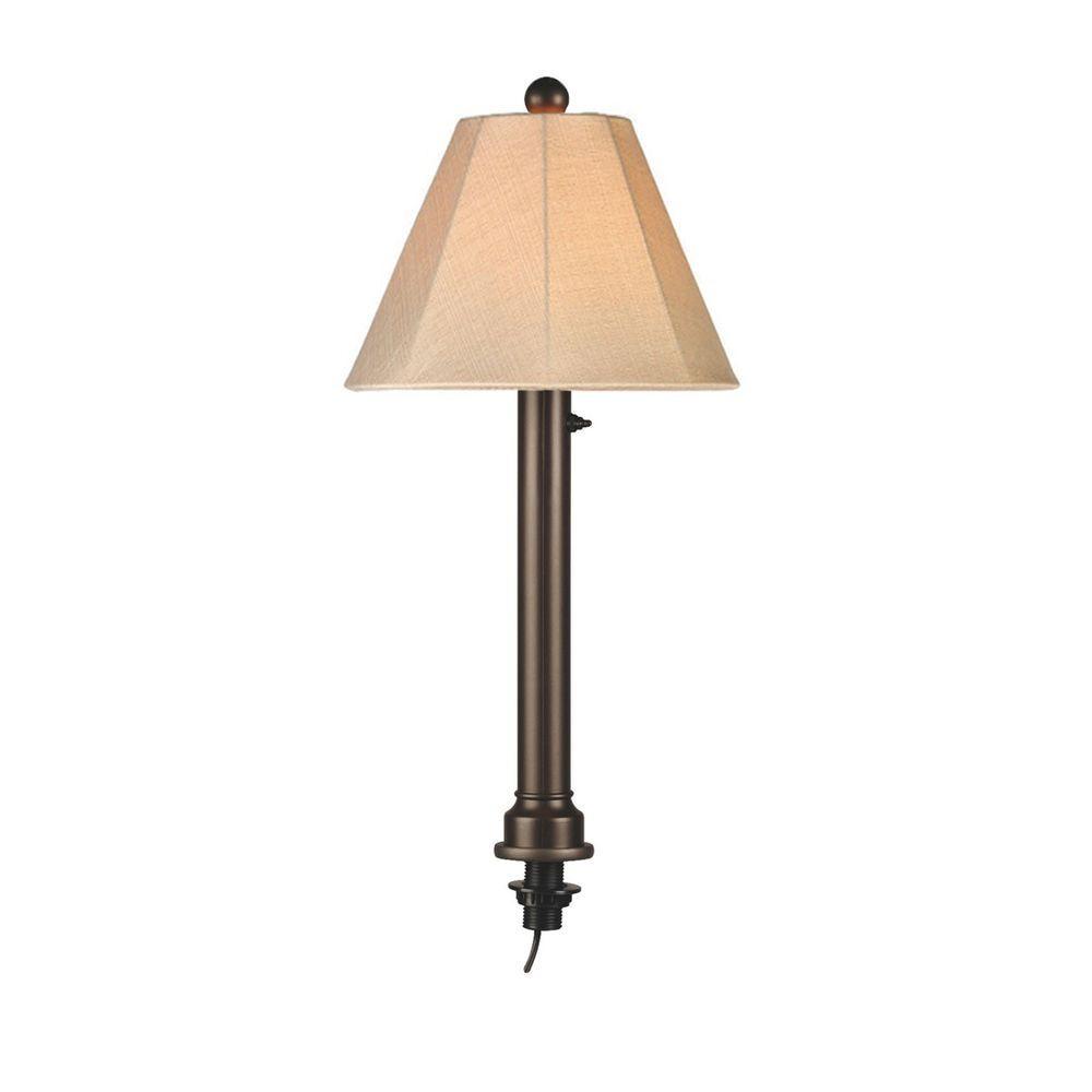Catalina 28 in. Bronze Umbrella Outdoor Table Lamp with Antique Beige