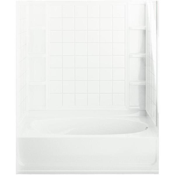 Ensemble 60 in. x 42 in. x 73-1/4 in. Bath and Shower Kit Right Drain in White with Above-Floor Drain and Backer Board