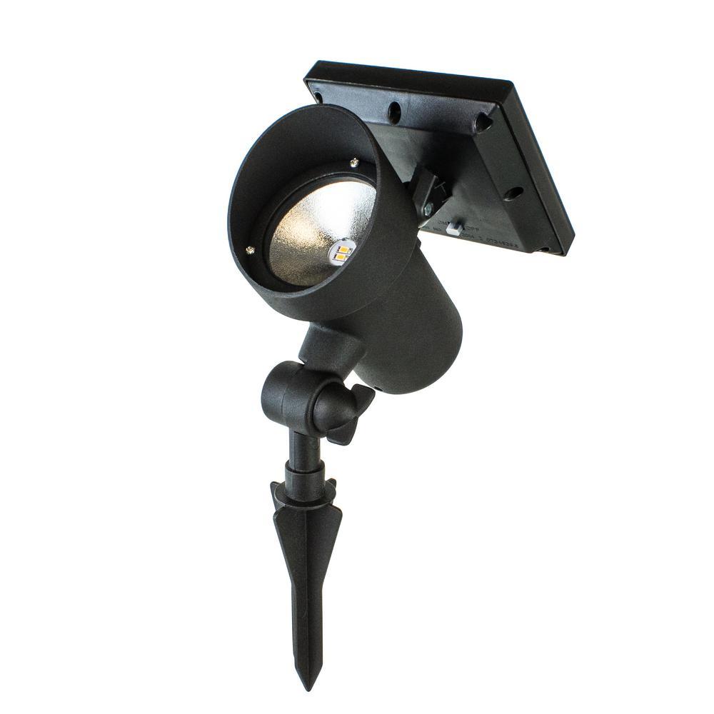 Black Outdoor Integrated LED Landscape High Lumen Metal Solar LED Spot Light