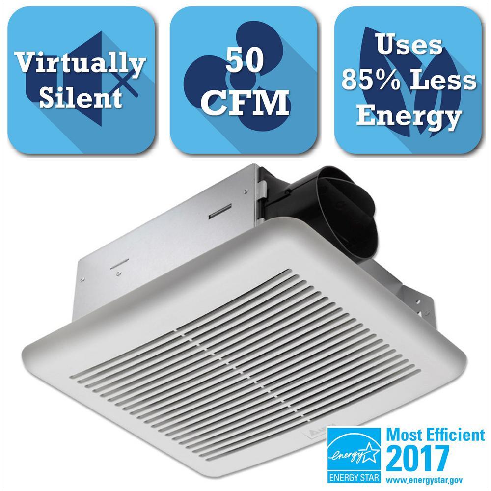 Bathroom Exhaust Fan 50 Cfm: Delta Breez Slim Series 50 CFM Wall Or Ceiling Exhaust