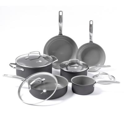 Chatham 10-Piece Hard-Anodized Aluminum Ceramic Nonstick Cookware Set in Gray