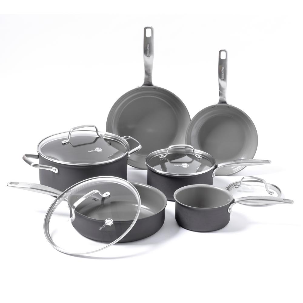 GreenPan Chatham Ceramic N-S 10-Piece Cookware Set, Gray/...