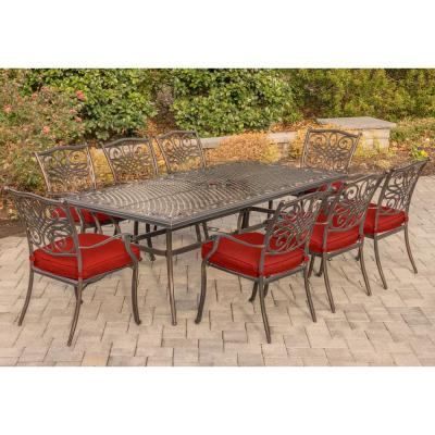 Traditions 9-Piece Aluminum Outdoor Dining Set with Red Cushions