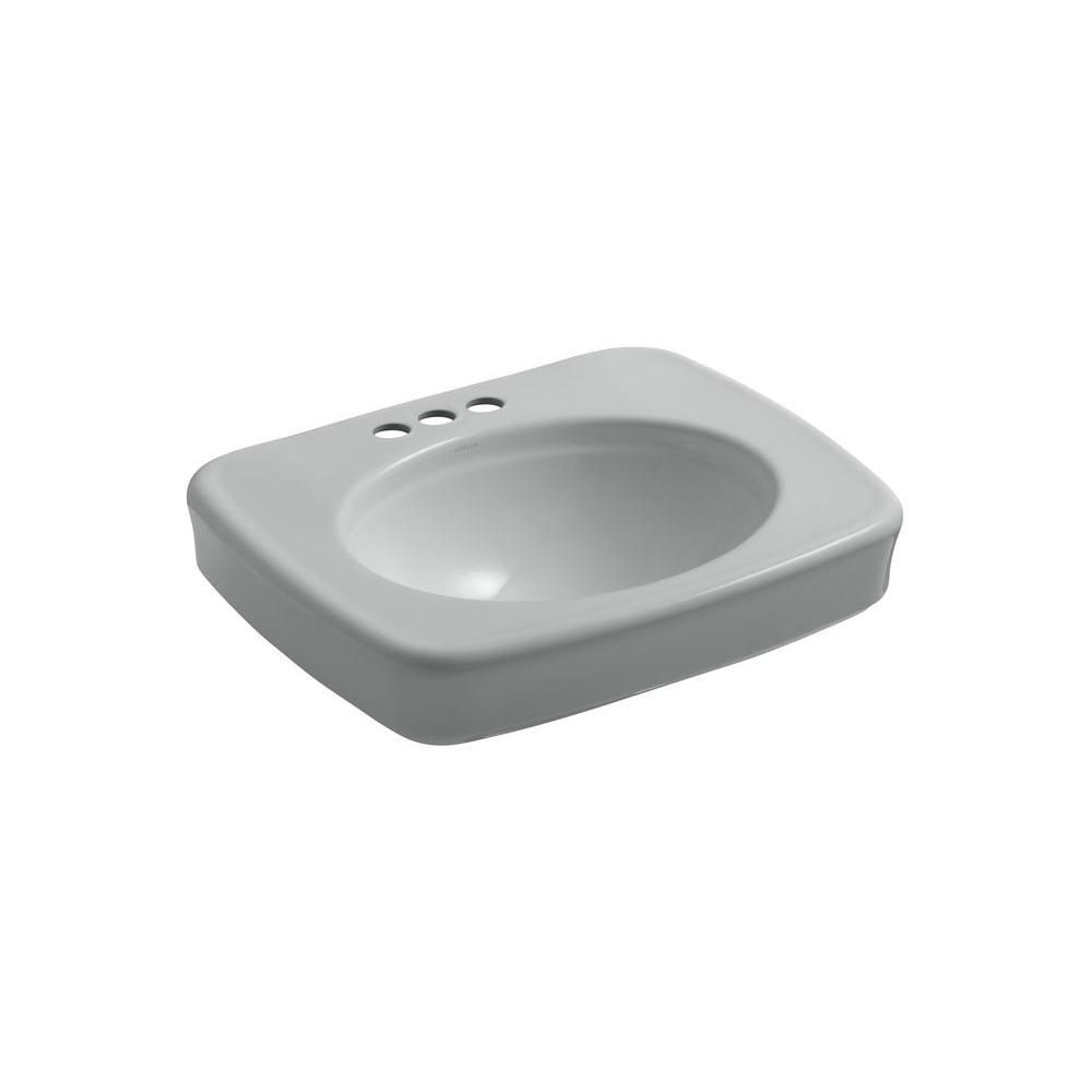 KOHLER Bancroft Vitreous China Pedestal Bathroom Sink in Ice Grey with Overflow Drain