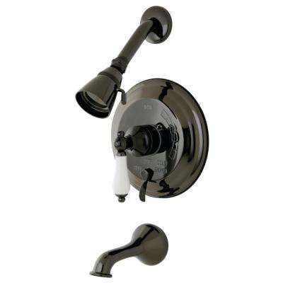 Porcelain Lever Single-Handle 4-Spray Tub and Shower Faucet with Valve in Black Stainless Steel (Valve Included)