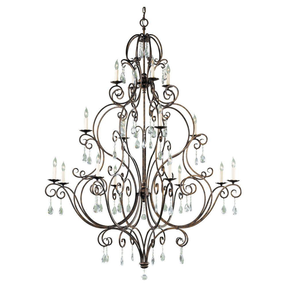 Feiss standard chandeliers lighting the home depot chateau 16 light mocha bronze chandelier aloadofball Images