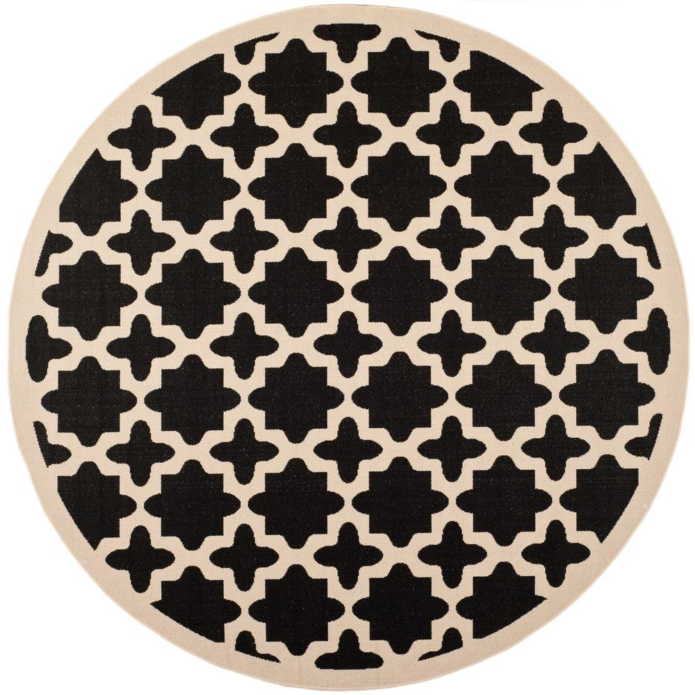 Safavieh Courtyard Black/Beige 4 ft. x 4 ft. Indoor/Outdoor Round Area Rug