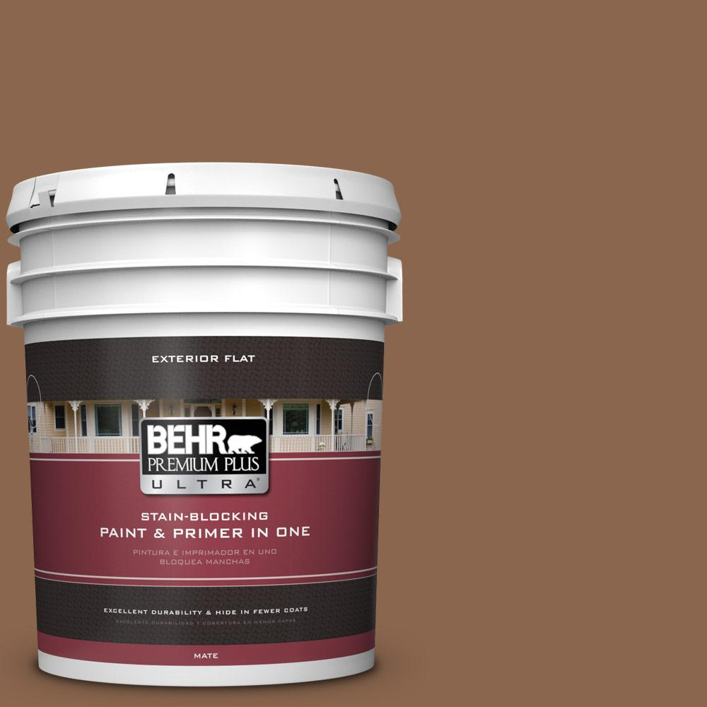5 gal. #MQ2-1 Burnished Brandy Flat Exterior Paint and Primer in
