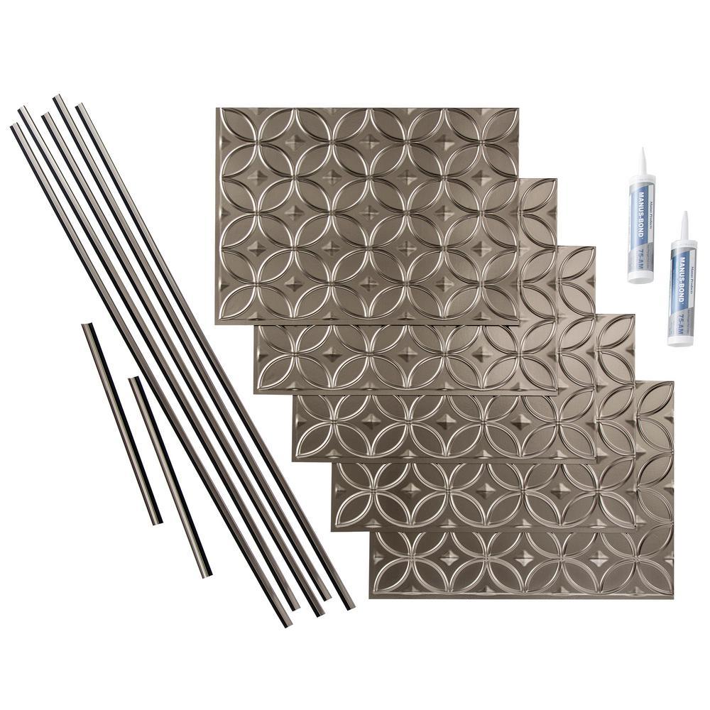 Rings 18 in. x 24 in. Brushed Nickel Vinyl Decorative Wall Tile Backsplash 15 sq. ft. Kit