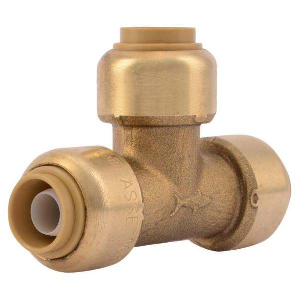 3/8 in. (1/2 in. O.D.) Push-to-Connect Brass Tee Fitting