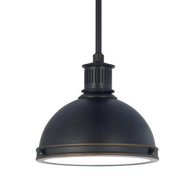 Pratt Street Metal 1-Light 9.5 in. 14-Watt Autumn Bronze Integrated LED Pendant