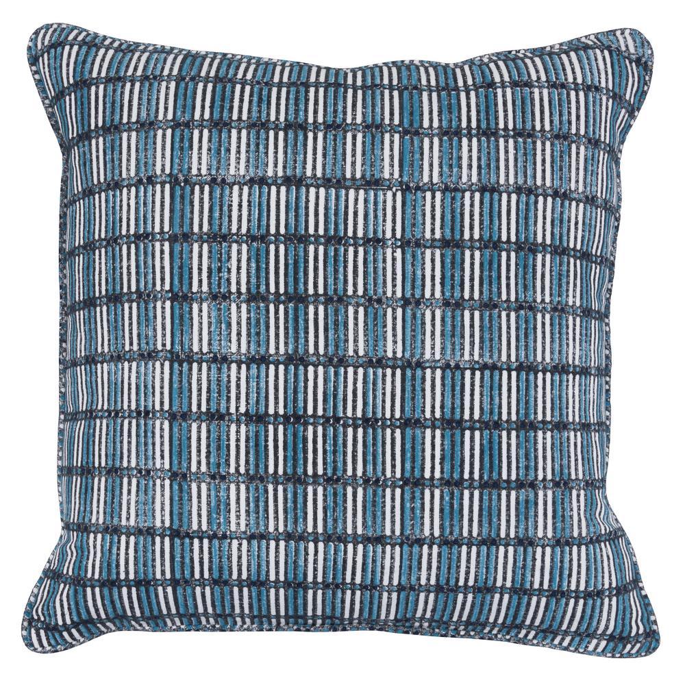 Aubrey Black / Blue/ Ivory 22 in. x 22 in. Cotton Block Print Decorative Pillow