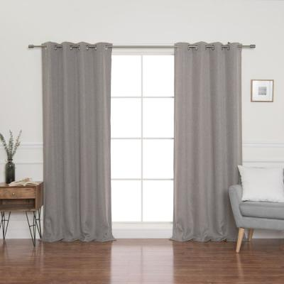 Grey Faux Linen Grommet Blackout Curtain Panel 52 in. x 96 in.