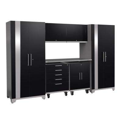 Performance Plus 2.0 80 in. H x 133 in. W x 24 in. D Steel Garage Cabinet Set in Black (7-Piece)