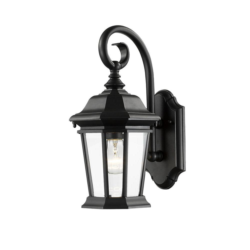 Presley 1-Light Black Outdoor Vintage Sconce with Clear Beveled Glass Shade