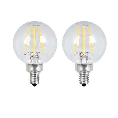 60-Watt Equivalent G16.5 Candelabra Dimmable Filament ENERGY STAR Clear Glass LED Light Bulb, Soft White (2-Pack)