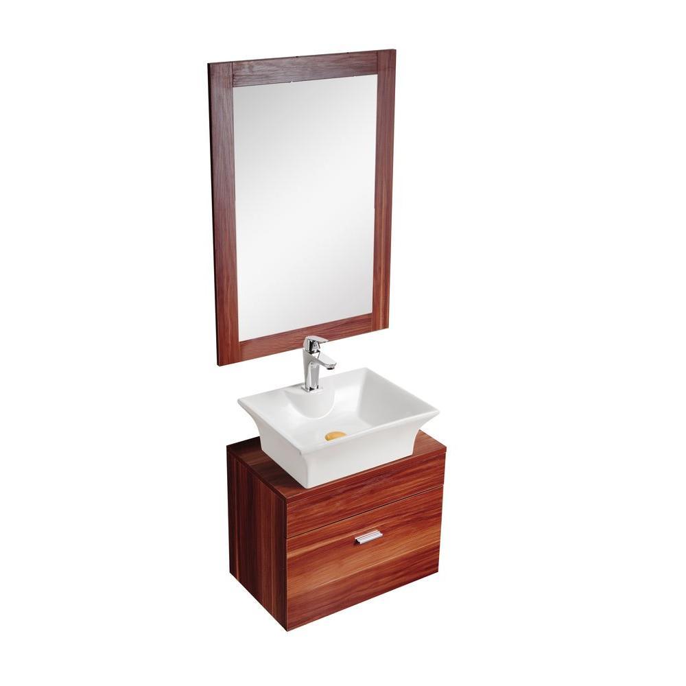 Dreamwerks 21 in. W x 13 in. D x 24 in. H Vanity in Cherry Wood Finish with Porcelain Vanity Top in Cheery Brown