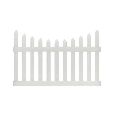 Pro-Series 4 ft. H x 6 ft. W White Vinyl Westchester Scalloped Spaced Picket Fence Panel