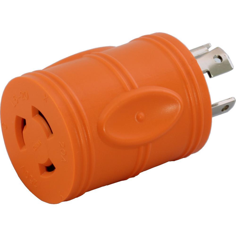 AC WORKS Locking Adapter 4-Prong 20 Amp 125/250-Volt NEMA L14-20P Locking Plug... by AC WORKS