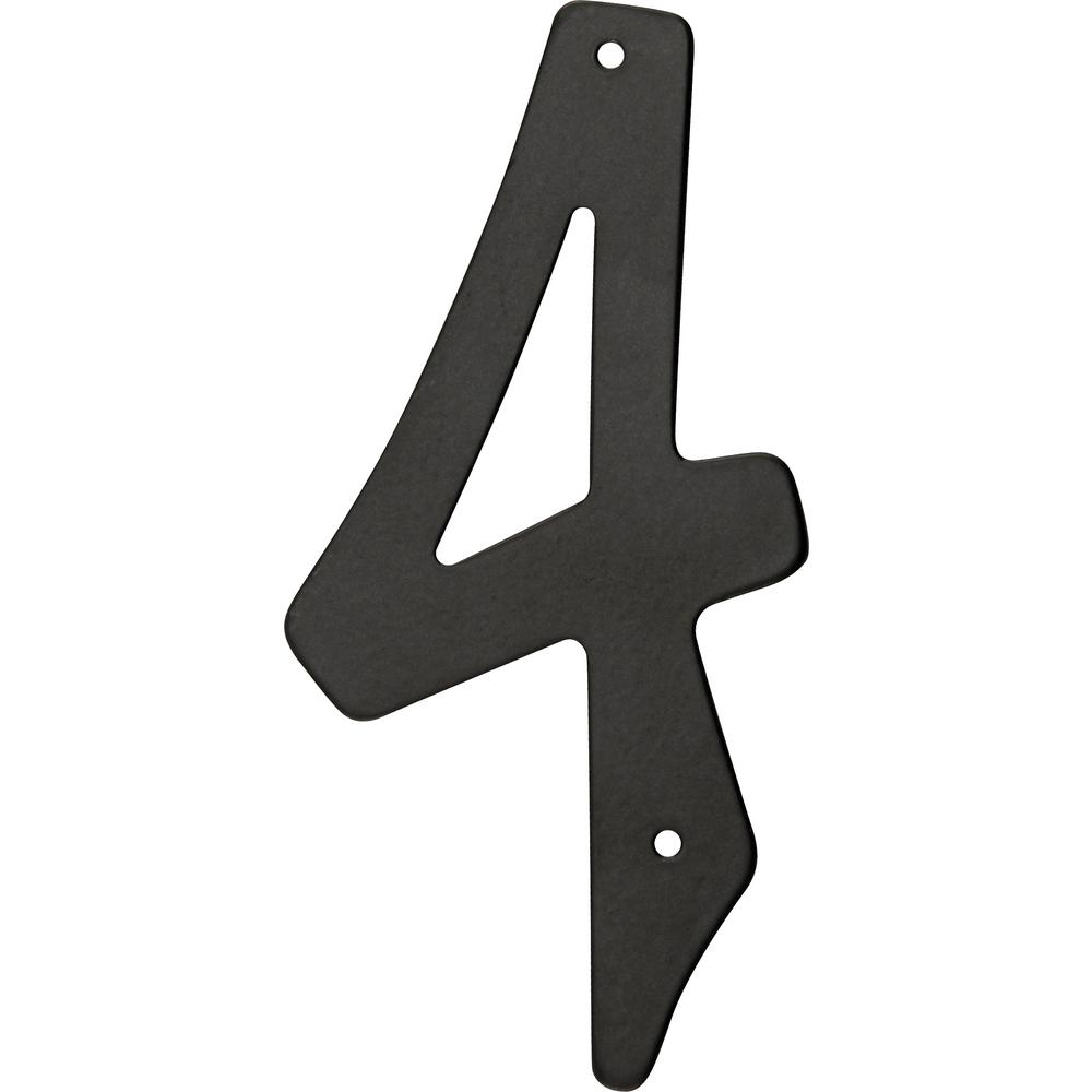 4 in. Nail-On Black Aluminum Number 4