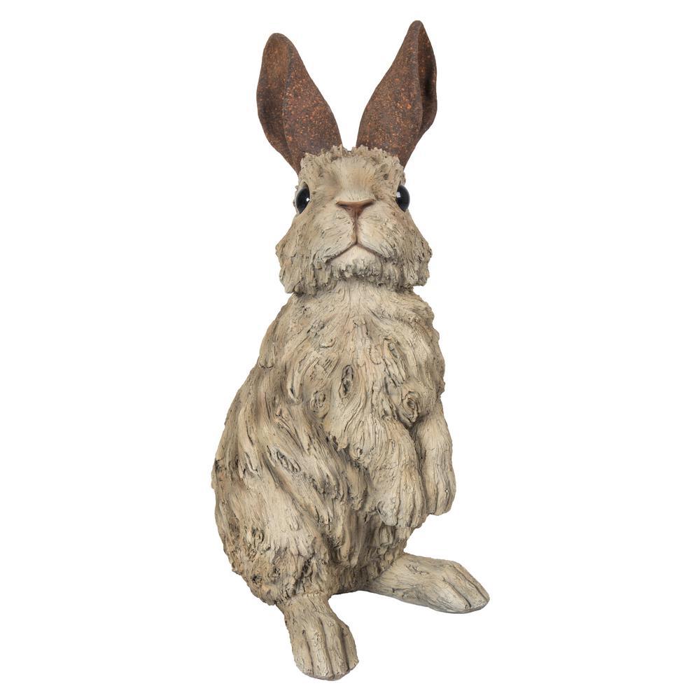 Rabbit Standing Driftwood Look Statue