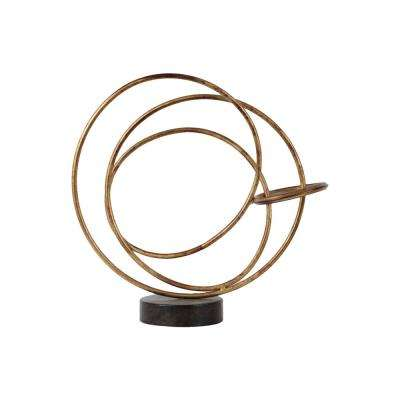 14.25 in. H Abstract Decorative Sculpture in Gold Rust Finish