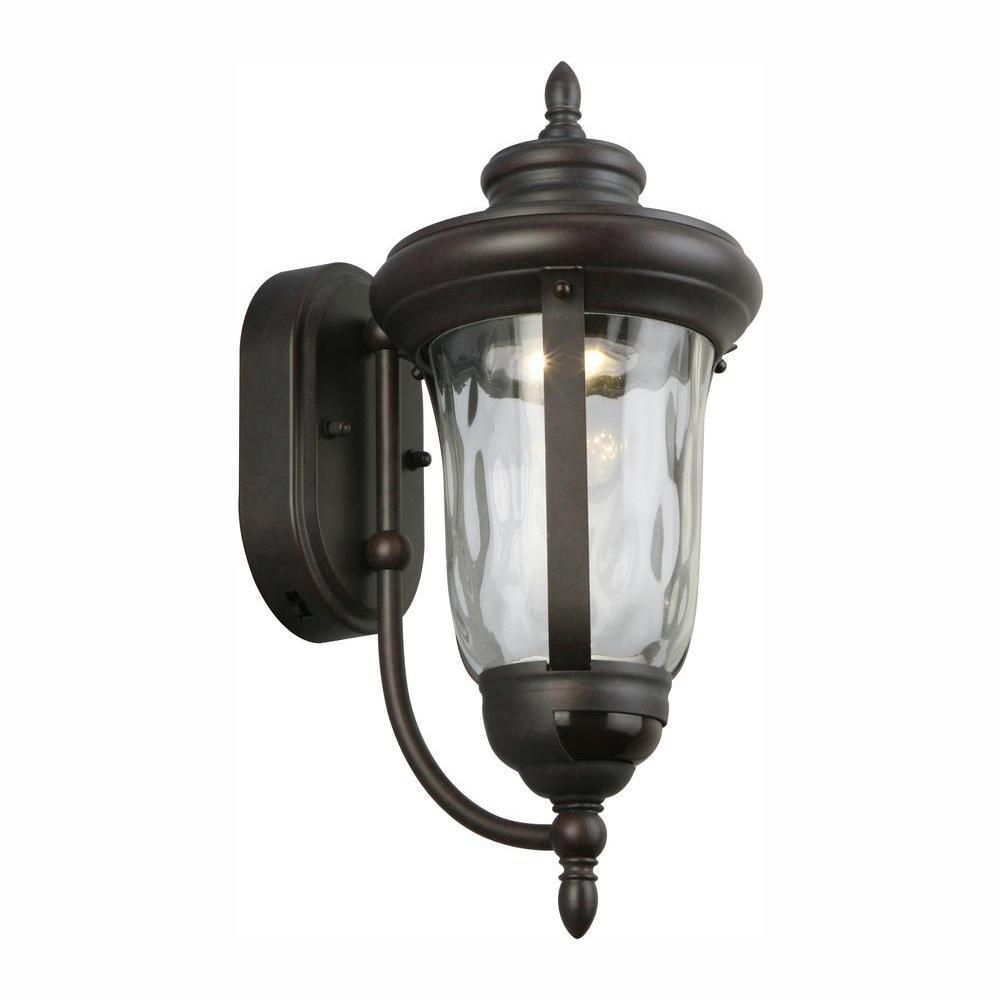 Home Decorators Collection Bronze Motion Sensor Outdoor Integrated LED Wall Lantern Sconce