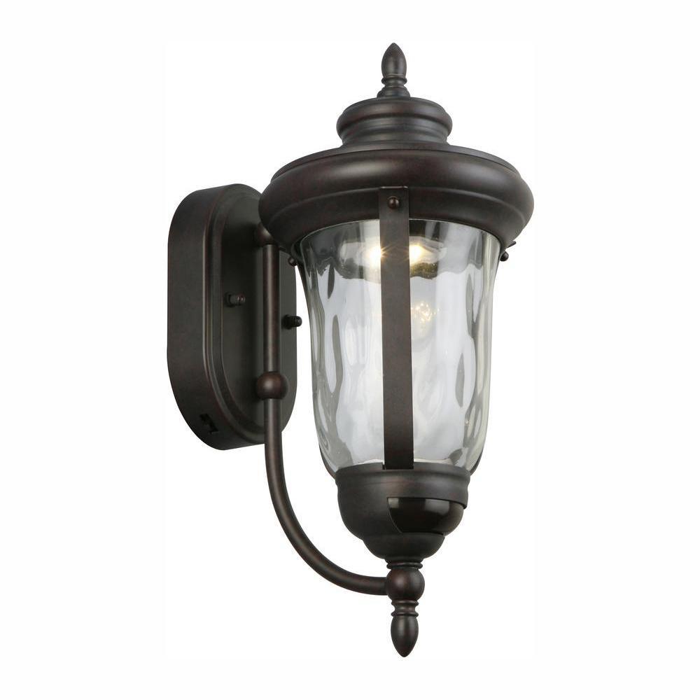 Bronze Motion Sensor Outdoor Integrated LED Wall Lantern Sconce