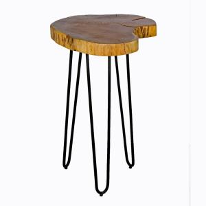 20 in. Brown and Black Hairpin Natural Live Edge Wood with Metal Round End Table