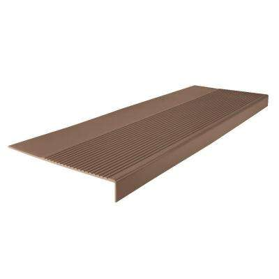 Ribbed Profile Toffee 12-1/4 in. x 42 in. Square Nose Stair Tread