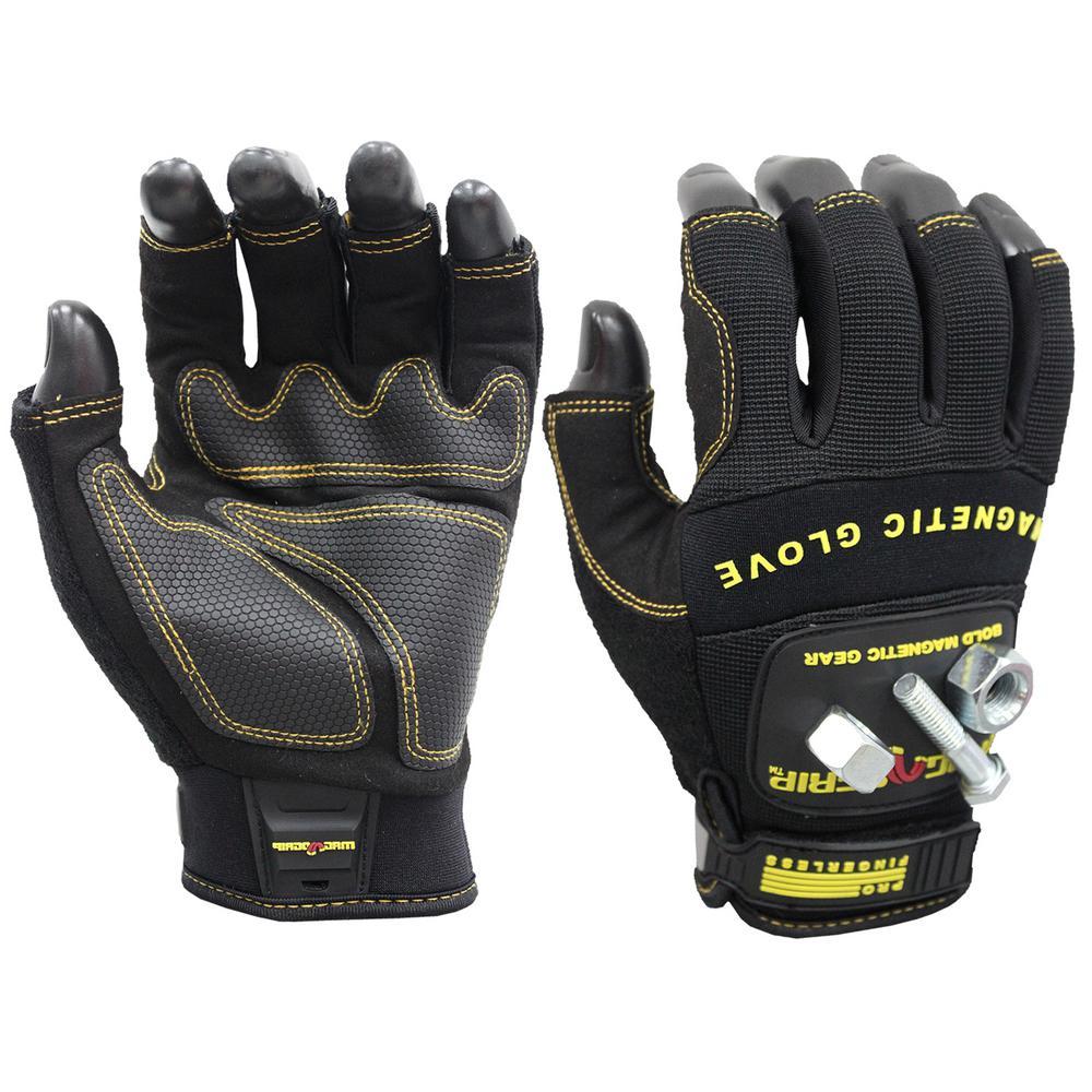 Pro Fingerless Large Magnetic Glove, Black